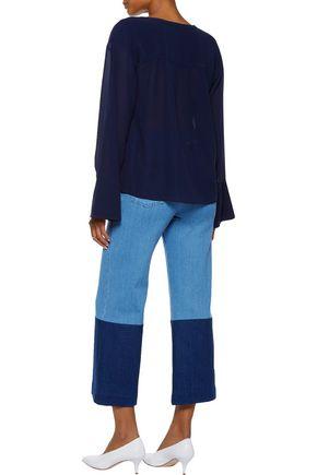 62bebebad54e7 ... THEORY Matara gathered silk-georgette blouse
