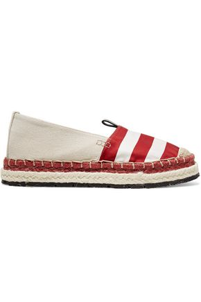 ACNE STUDIOS Bibiana striped satin and canvas espadrilles