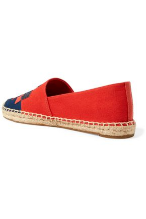 TORY BURCH Jamie two-tone embroidered canvas espadrilles