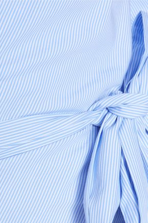 IRIS AND INK Adira striped cotton-poplin wrap shirt
