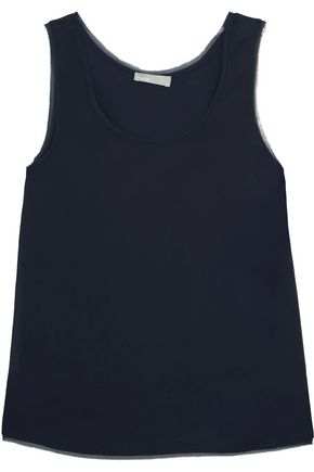 VINCE. Frayed chiffon-trimmed stretch-satin tank