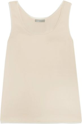 VINCE. Frayed chiffon-trimmed stretch-satin top