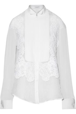 GIVENCHY Lace-trimmed crinkled-silk blouse