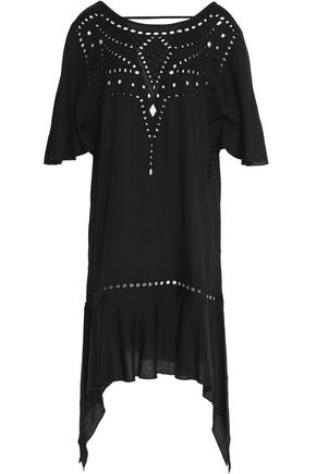 VIX PAULAHERMANNY Luma embroidered cutout voile kaftan
