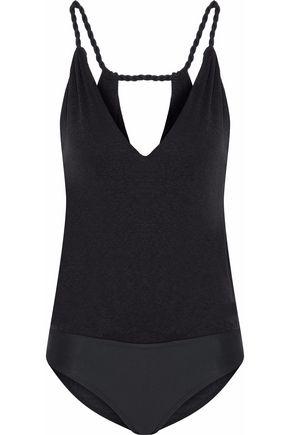VIX Cutout slub jersey and stretch-knit bodysuit