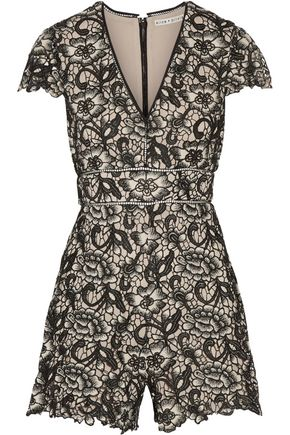 ALICE + OLIVIA Guipure lace playsuit