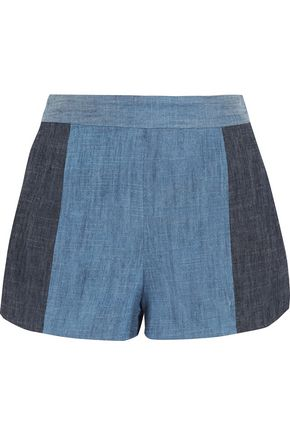 ALICE+OLIVIA Madison two-tone chambray shorts