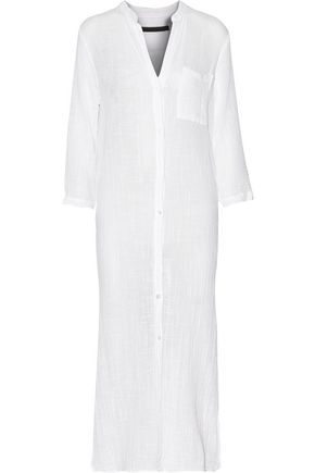 ENZA COSTA Pleated cotton-gauze maxi shirt