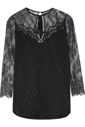 SANDRO Carry lace-paneled satin-jacquard top