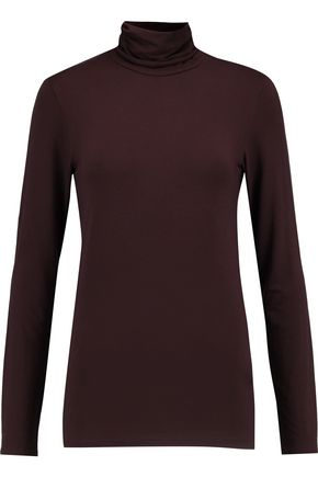 MAJESTIC Stretch-jersey turtleneck top
