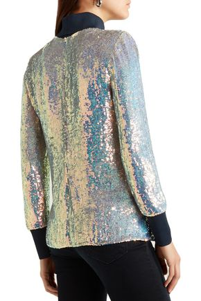 3.1 PHILLIP LIM Jersey-trimmed sequined silk turtleneck top