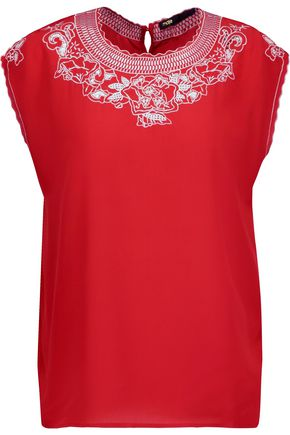 MAJE London broderie anglaise-paneled silk crepe de chine top