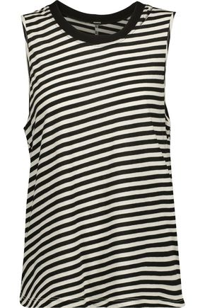MONROW Cutout striped cotton-blend jersey tank
