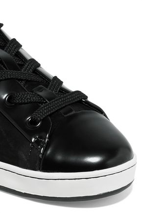 DKNY Brayden suede and patent-leather sneakers