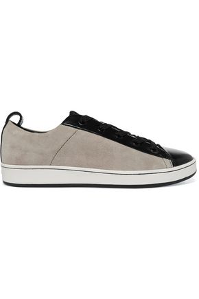 DKNY Brayden patent leather-paneled suede sneakers