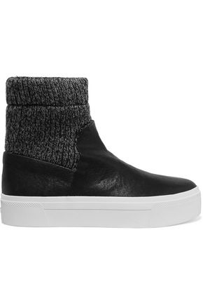 DKNY Beverly knitted and textured-leather high-top sneakers