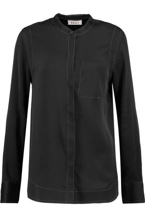 DKNY Stretch-silk crepe de chine top