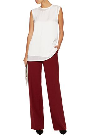 DKNY Asymmetric silk georgette-paneled silk top