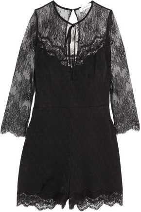 SANDRO Corded lace and polka-dot jacquard playsuit