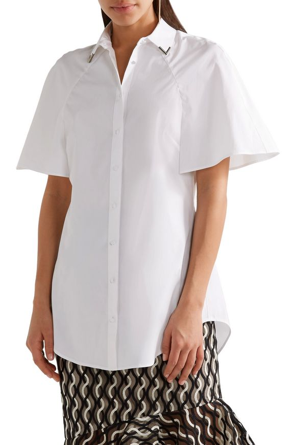 Embellished cotton poplin shirt | LELA ROSE | Sale up to 70% off | THE  OUTNET