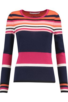 DIANE VON FURSTENBERG Jolanta striped wool and cashmere-blend top