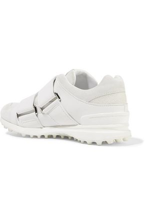 3.1 PHILLIP LIM Trance suede-trimmed leather and mesh sneakers