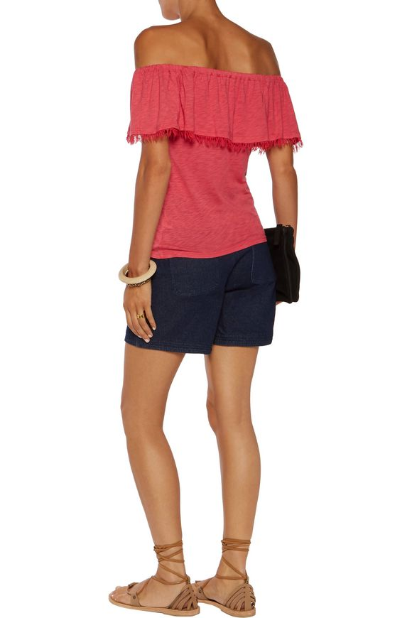 Off-the-shoulder frayed Supima cotton and Micro Modal-blend jersey top    SPLENDID   Sale up to 70% off   THE OUTNET