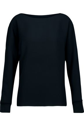VINCE. Ribbed knit-trimmed crepe top