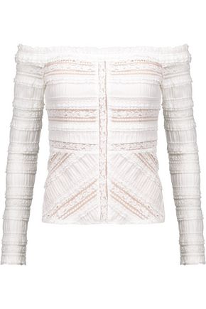 CINQ À SEPT Off-the-shoulder corded lace-paneled cotton-blend top