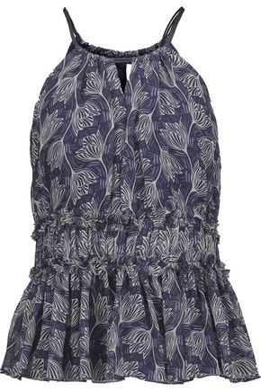 CINQ À SEPT Lotus gathered floral-print silk-georgette peplum top