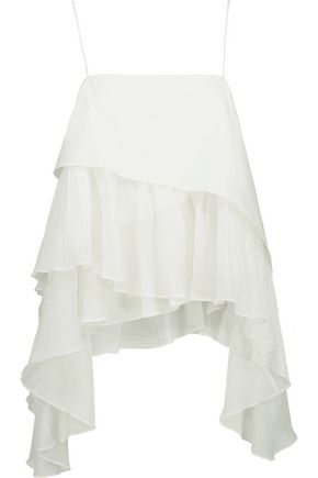 CINQ À SEPT Cadence asymmetric tiered cotton-poplin and crinkled cotton-gauze top
