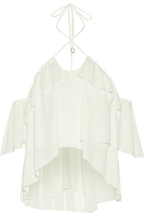 CINQ À SEPT Carla off-the-shoulder layered georgette halterneck top