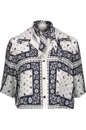 CINQ À SEPT Dani cropped printed matte silk-satin shirt