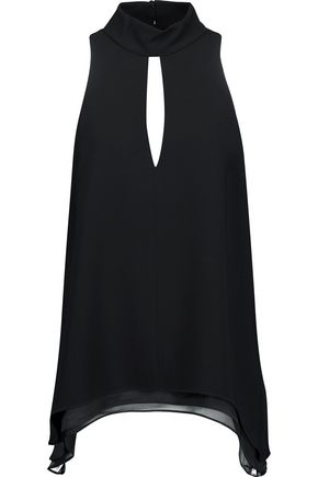 CINQ À SEPT Envie asymmetric cutout crepe top