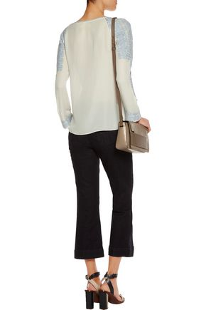 TORY BURCH Embroidered silk-georgette blouse