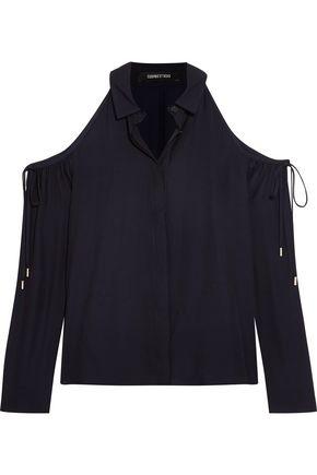 CUSHNIE ET OCHS Cold-shoulder crepe blouse