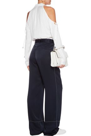 CUSHNIE ET OCHS Cold-shoulder crepe blouse