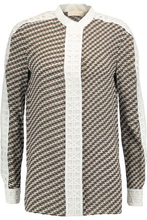 TORY BURCH Jeane crochet-knit trimmed printed silk shirt