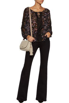 JOIE Grazia lace-paneled printed silk-chiffon blouse