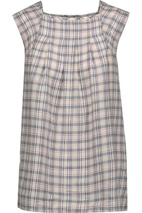 JOIE Cadelle pleated checked cotton-flannel top