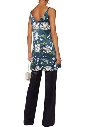 ADAM LIPPES Asymmetric floral-print silk-satin top