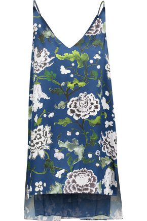 ADAM LIPPES Asymmetric floral-print silk-satin top
