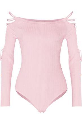CUSHNIE ET OCHS Lace-up ribbed-knit bodysuit