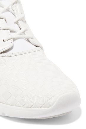MICHAEL MICHAEL KORS Amanda mesh and patent and matte leather-paneled woven canvas sneakers