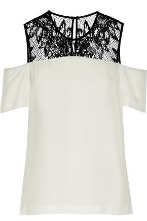 A.L.C. Glyn cold-shoulder lace-paneled crepe de chine top