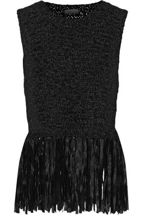 A.L.C. Bette fringed stretch crochet-knit top