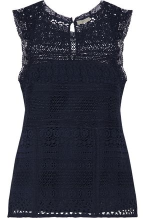 JOIE Paneled cotton-blend crochet and cotton-lace top