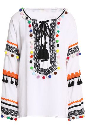 DODO BAR OR Pompom-embellished cotton-gauze blouse