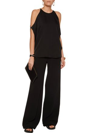 THEORY Bendava cold-shoulder silk top