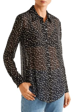 THEORY Sunaya printed silk-chiffon blouse